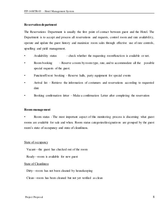 hotel management system project pdf