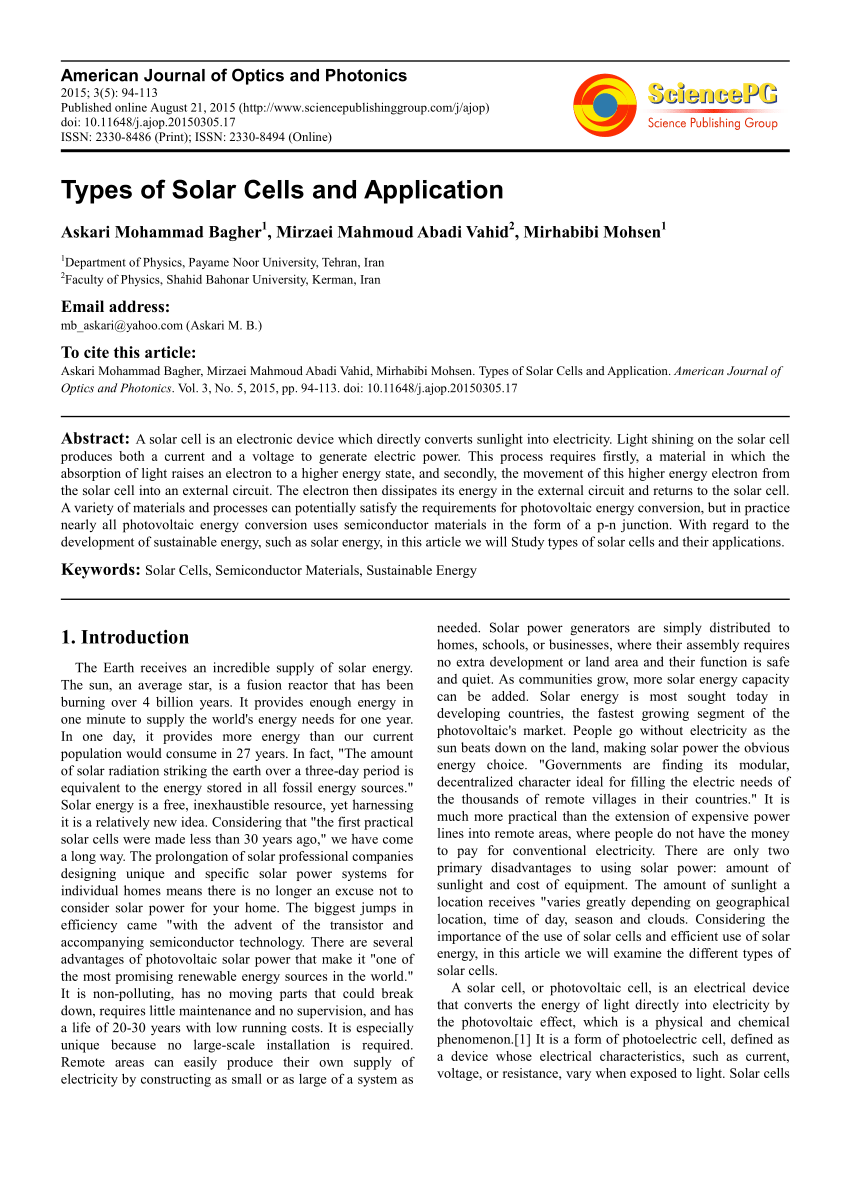 application of photovoltaic cell pdf
