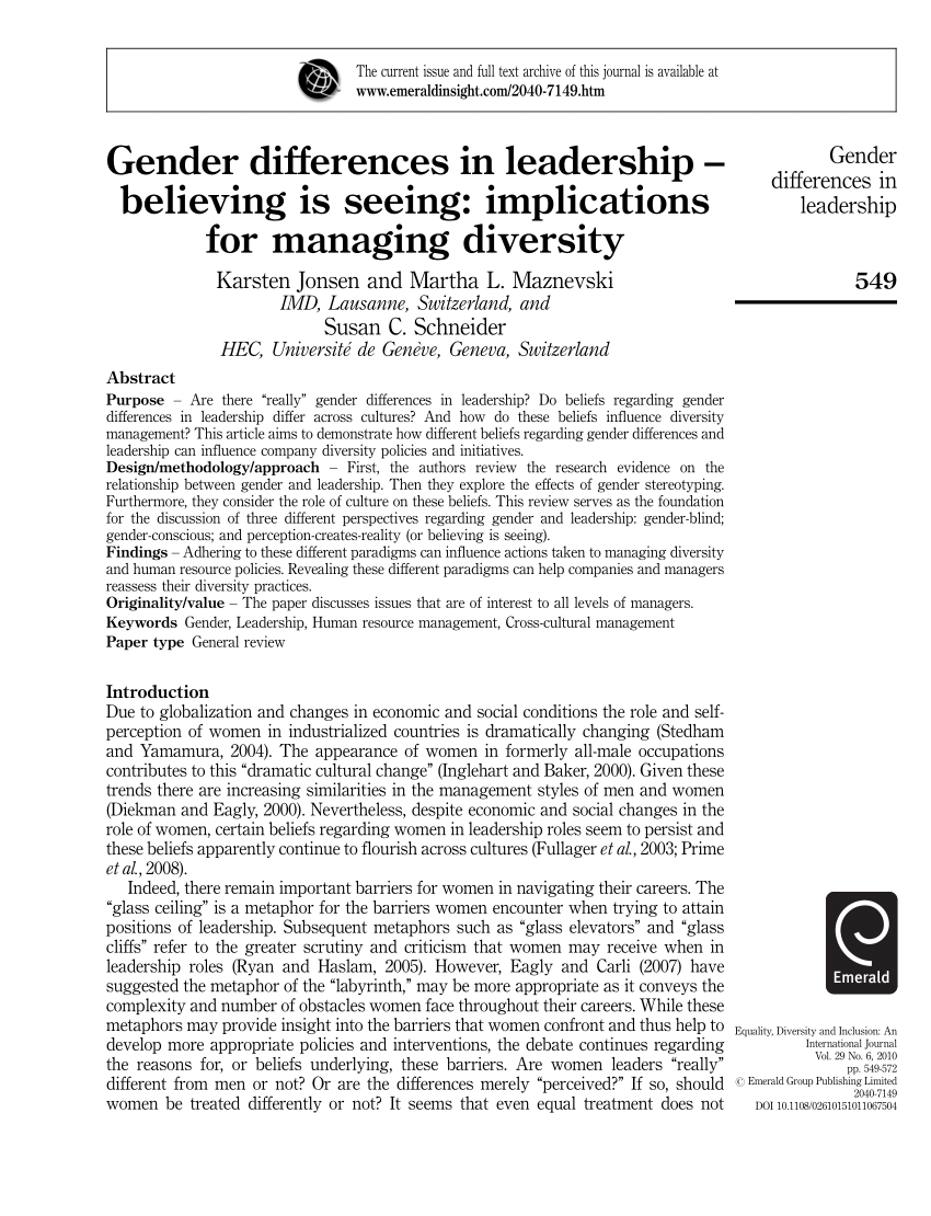 gender differences and leadership pdf